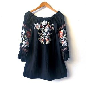 FreePeople Embroidered Off-The-Shoulder minidress